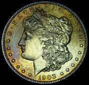 1903 Morgan Silver Dollar Ch BU Rainbow Tone Details