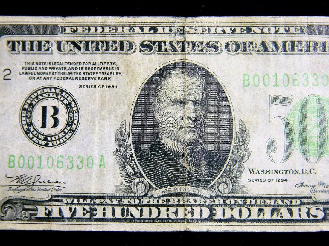 Rare $500 Fed Res. Note Series 1934 District B-2 Great