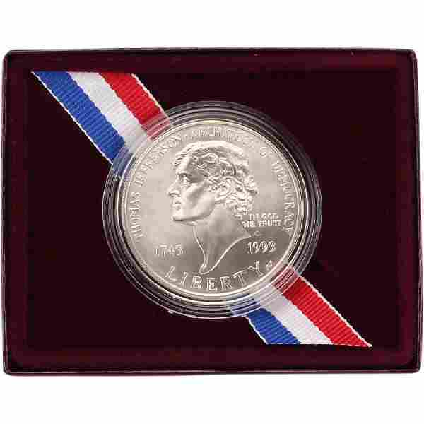 1993 P Thomas Jefferson 250TH Anniversary Silver Dollar