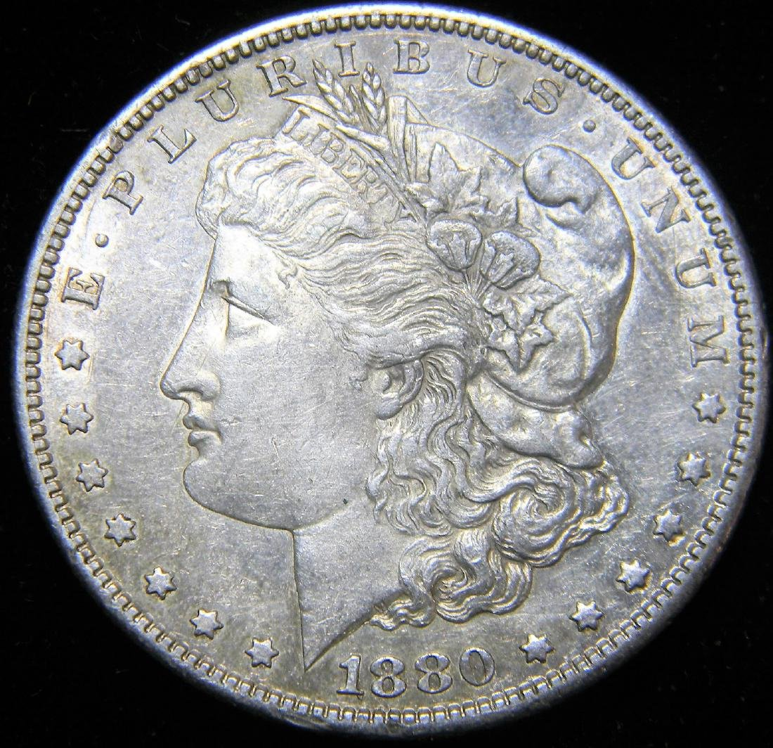 1880 S Morgan Silver Dollar, Nice Mint State Details