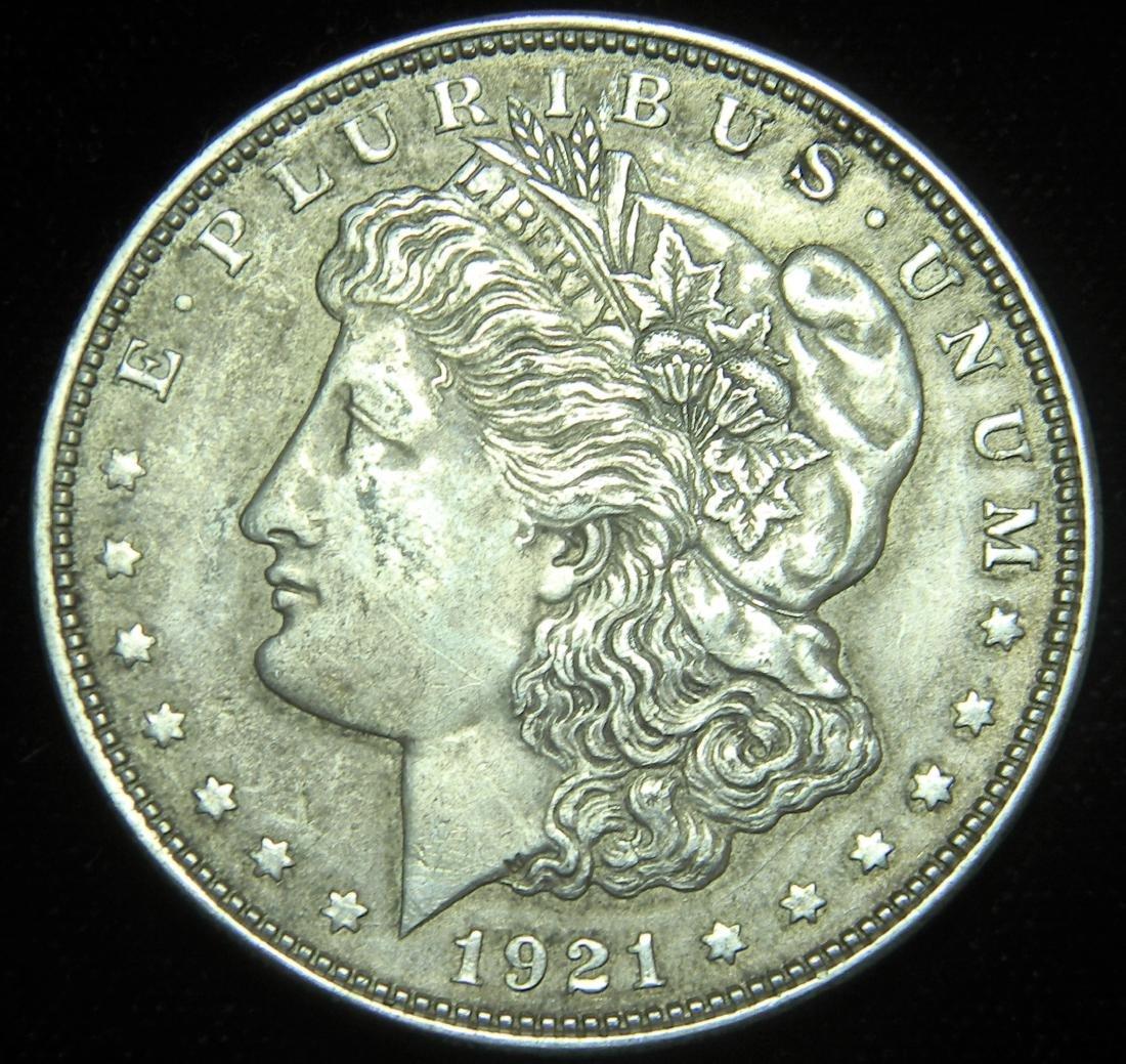 1921 Morgan Silver Dollar AU/ MS Details Last Year of