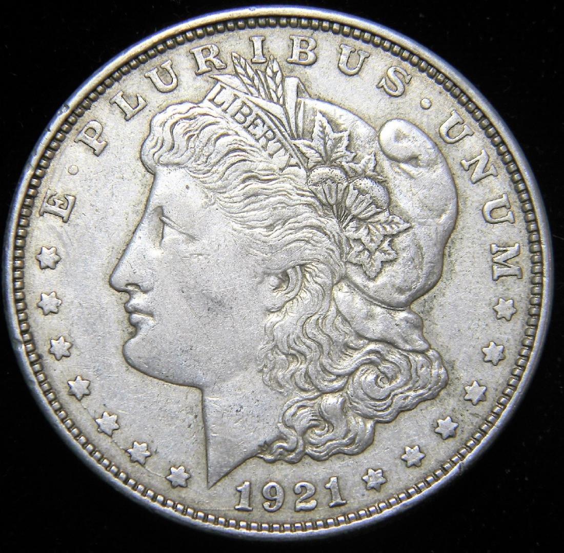 1921  D Morgan Silver Dollar, EF Details Last Year Only