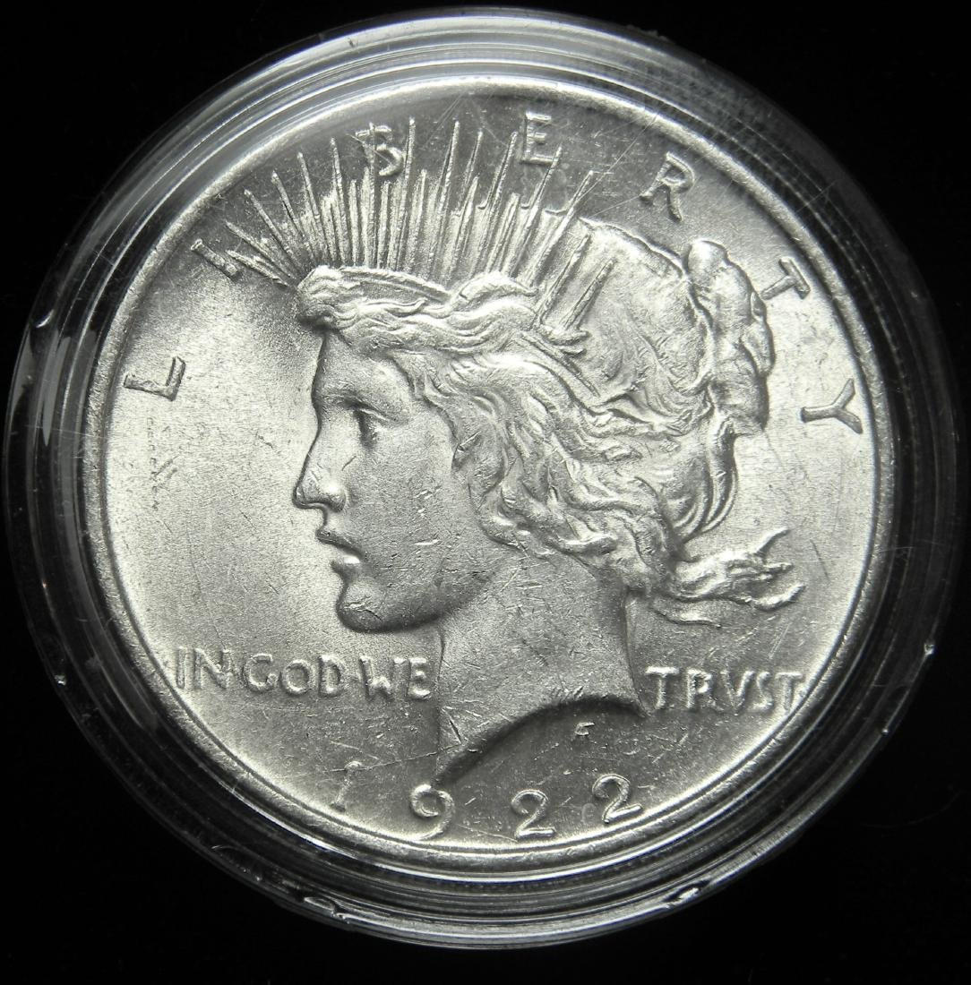 1922 Peace Silver Dollar AU/ MS Low Relief