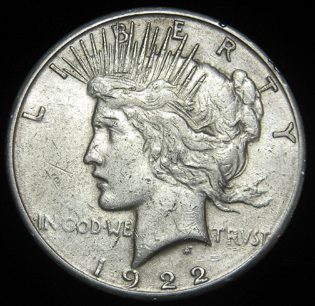 1922 S Peace Silver Dollar, Great EF+ / AU Details