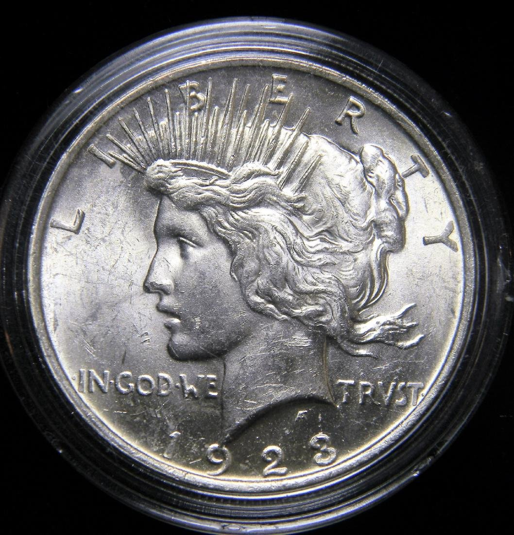 1923 Peace Silver Dollar, Choice Brilliant Uncirculated
