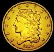 1834 Plain 4 Classic Head No Motto $5 Gold Half Eagle
