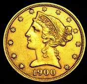 1900 Liberty Coronet Head $5 Half Eagle Gold Variety 2