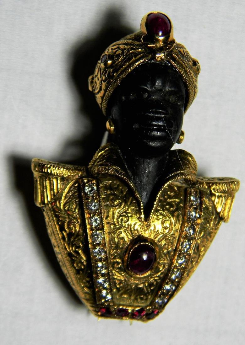 "Rare ""Nardi"" 18K Gold Blackamoore Diamonds Ruby's &"