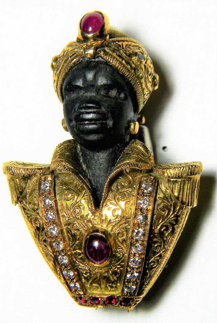 "Rare ""Nardi"" 18K Gold Blackamoore Diamonds Ruby's & - 2"
