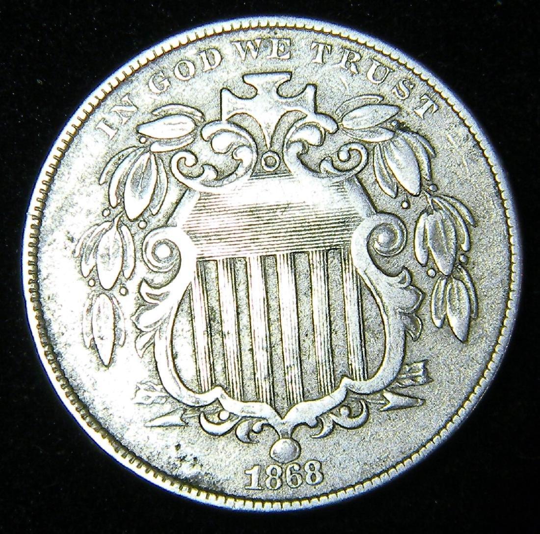 1868 Shield Nickel EF+Details Nice Coin