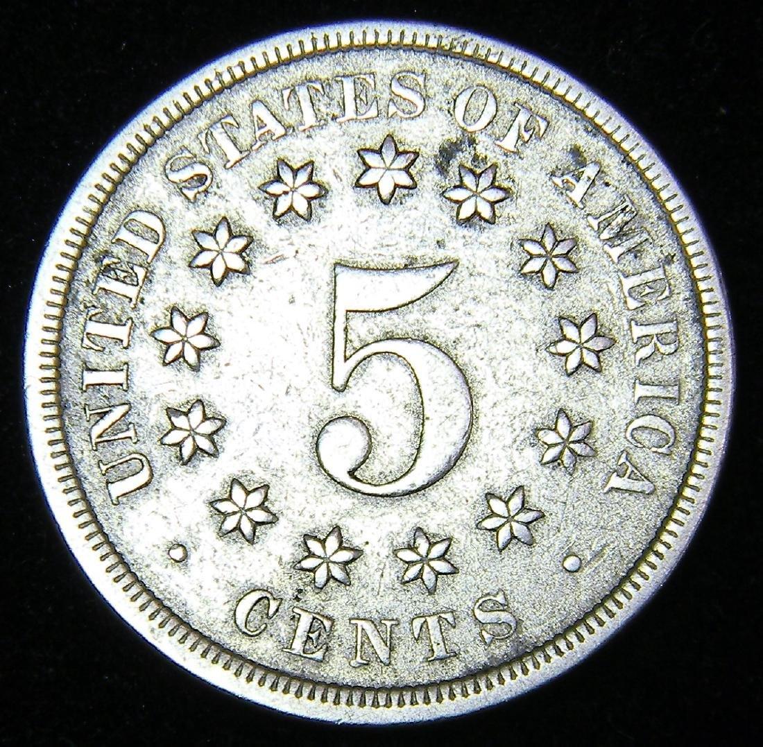 1868 Shield Nickel EF+Details Nice Coin - 2