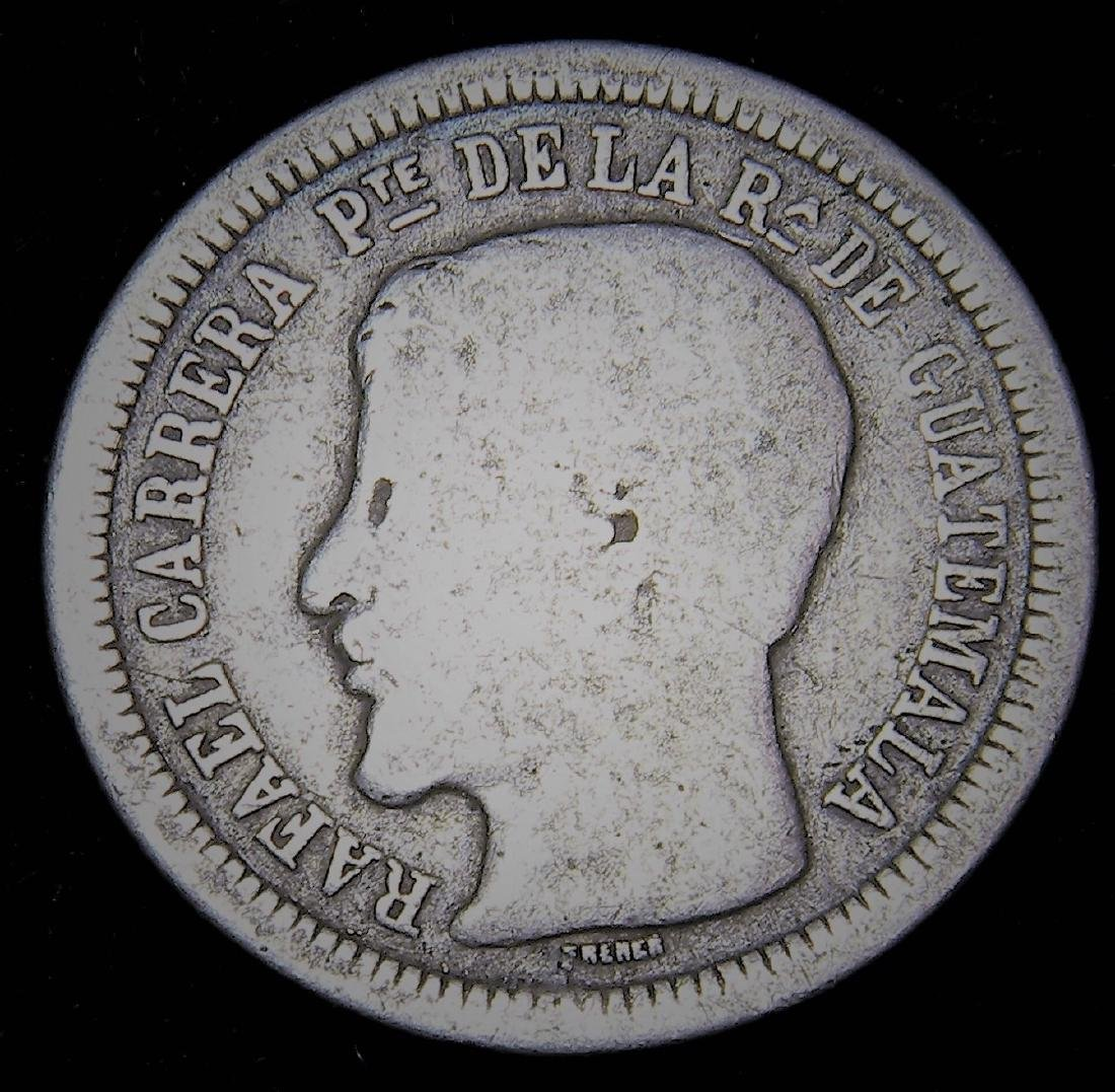 1863 R Guatamala 2 Reales Rafael Carrera Scarce Coin