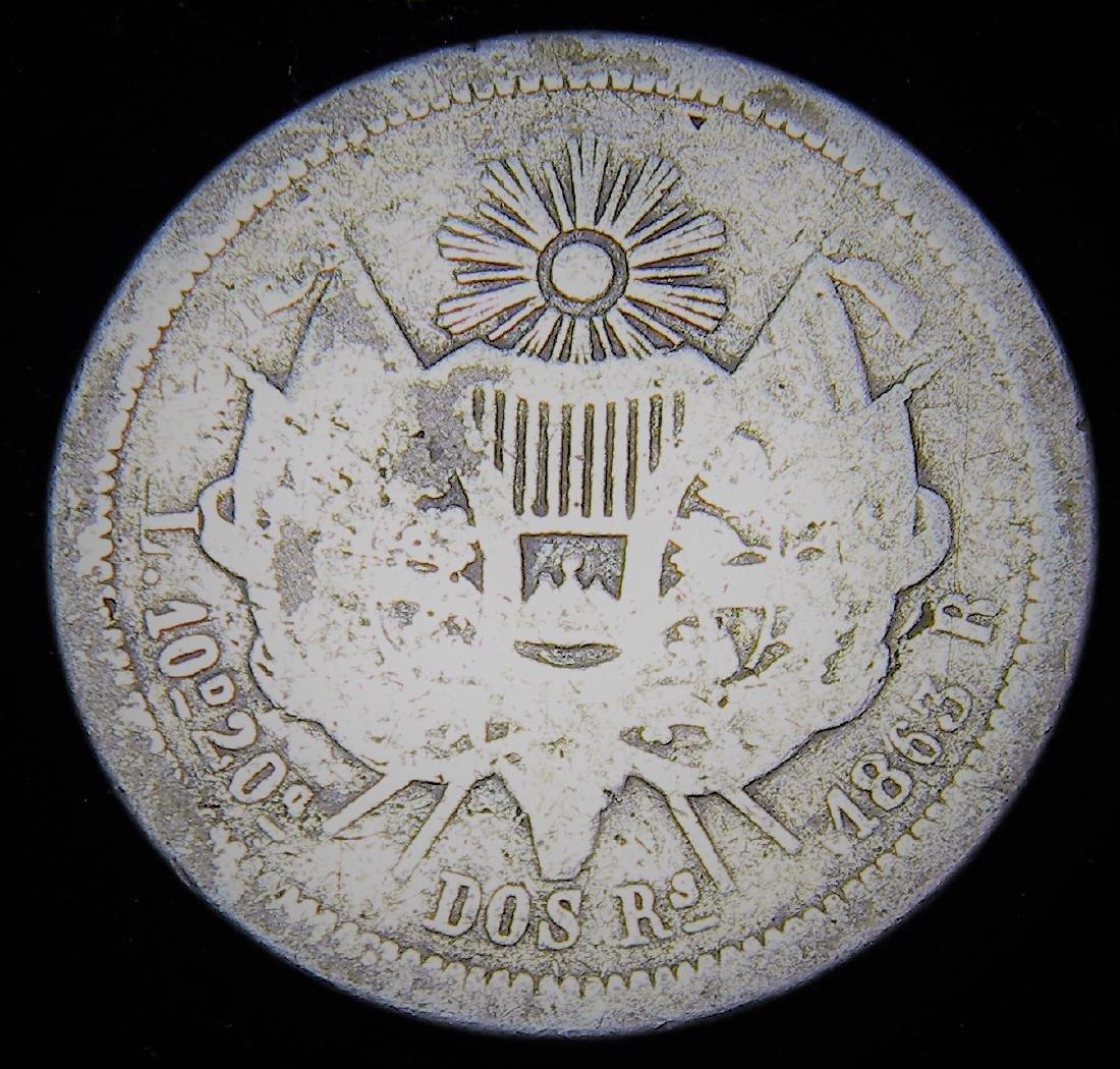 1863 R Guatamala 2 Reales Rafael Carrera Scarce Coin - 2