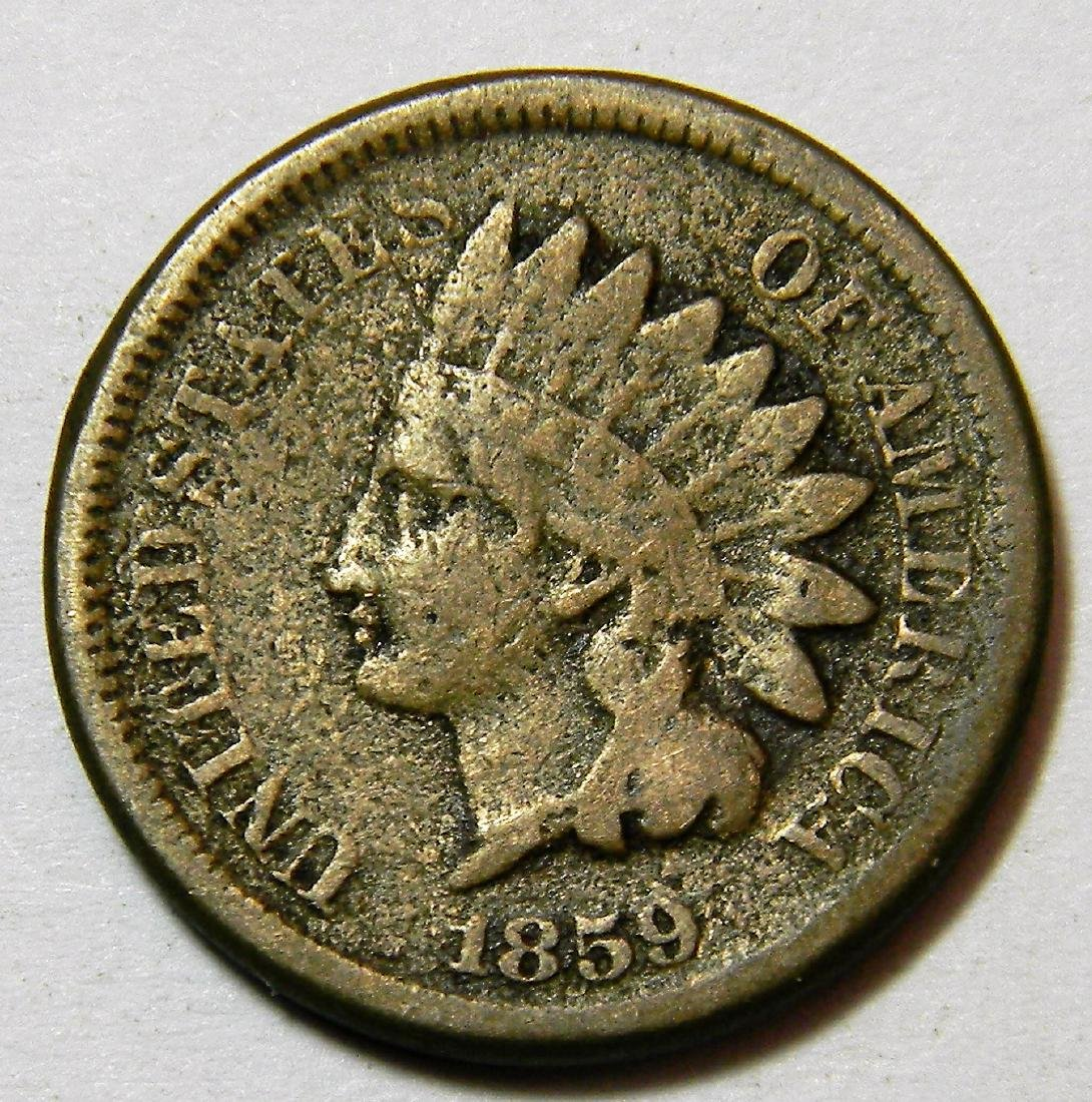1859 Indian Head Cent, Type 1 Copper-Nickel Cent, First