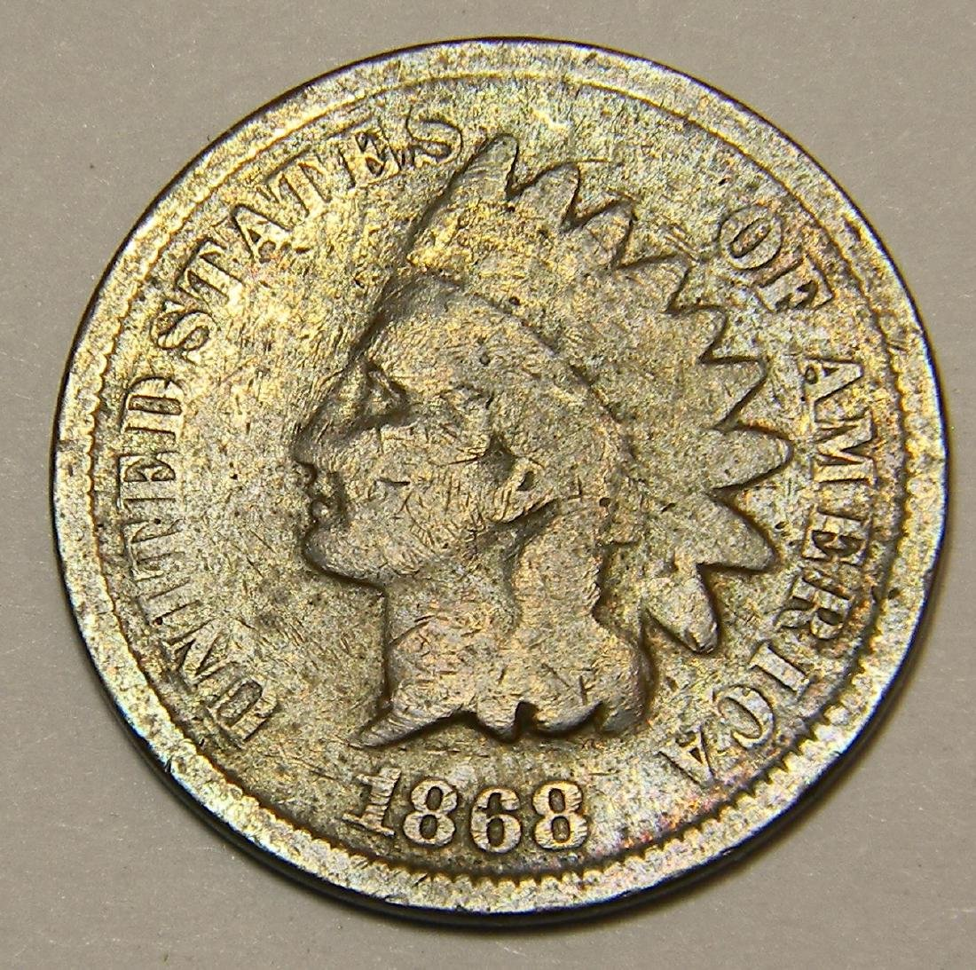1868 Bronze Indian Head Cent -Semi Key Date Rare