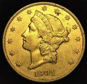 1901 Choice High Grade Scarce Date Liberty $20 gold
