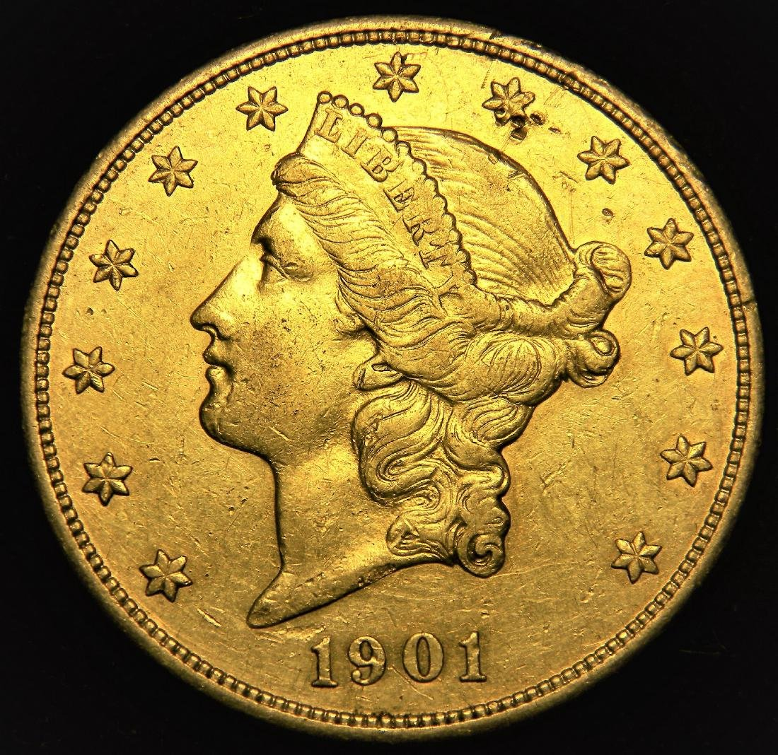 1901  Choice High Grade Scarce Date Liberty $20 gold