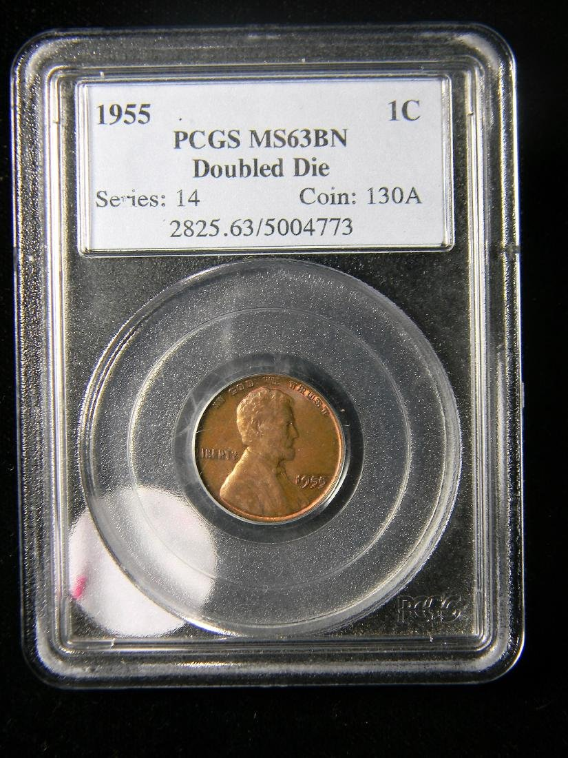ULTRA RARE 1955 Double Die Lincoln Cent PCGS MS63 BN