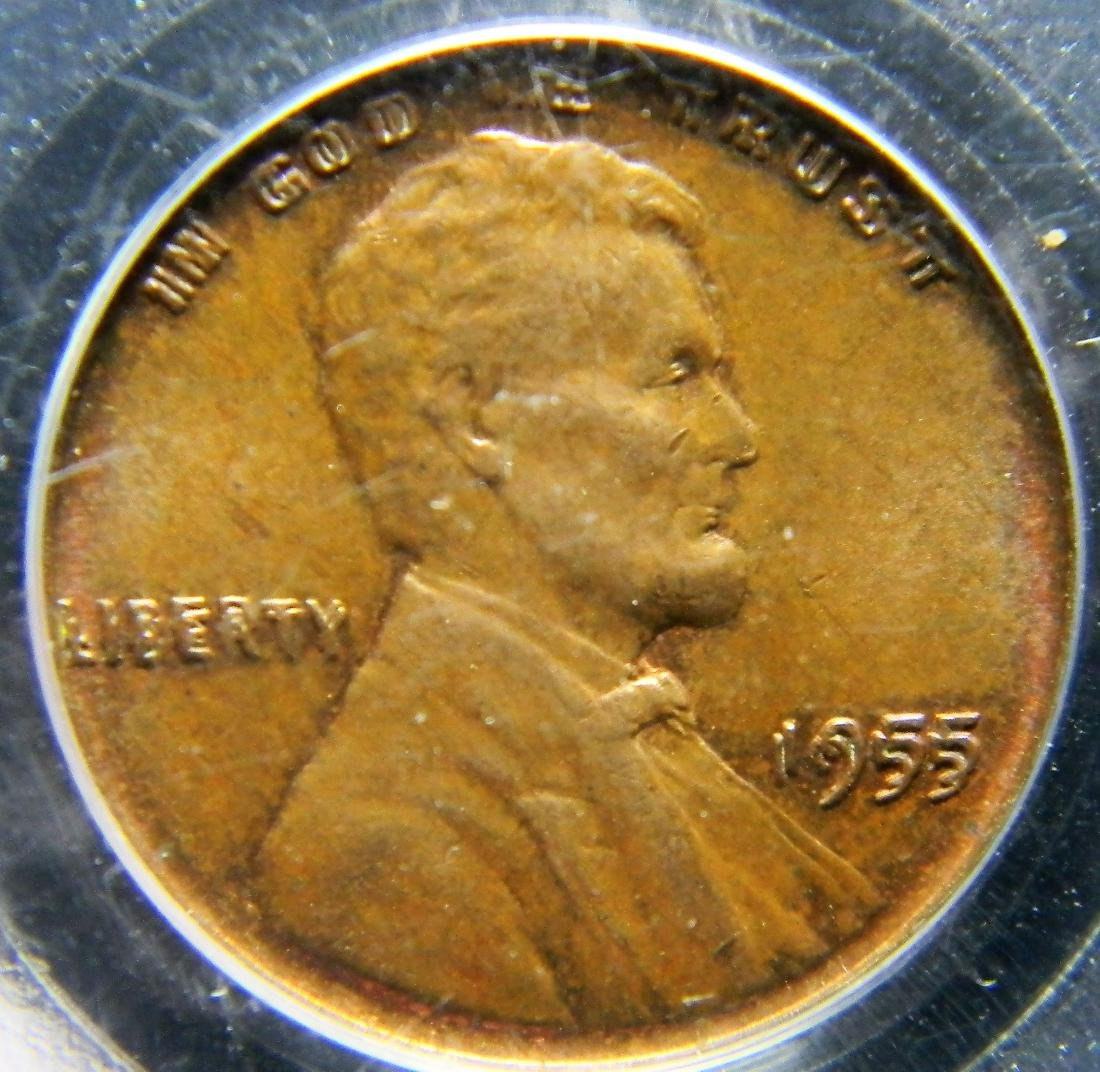 ULTRA RARE 1955 Double Die Lincoln Cent PCGS MS63 BN - 4