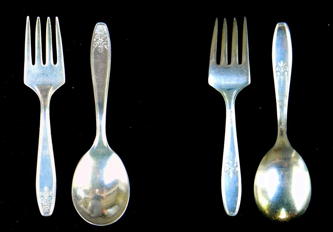 Antique Sterling Silver  Baby Spoon & Fork