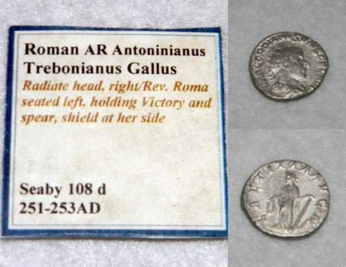 Roman Silver Denarius Antoninianus Gallus 251-253