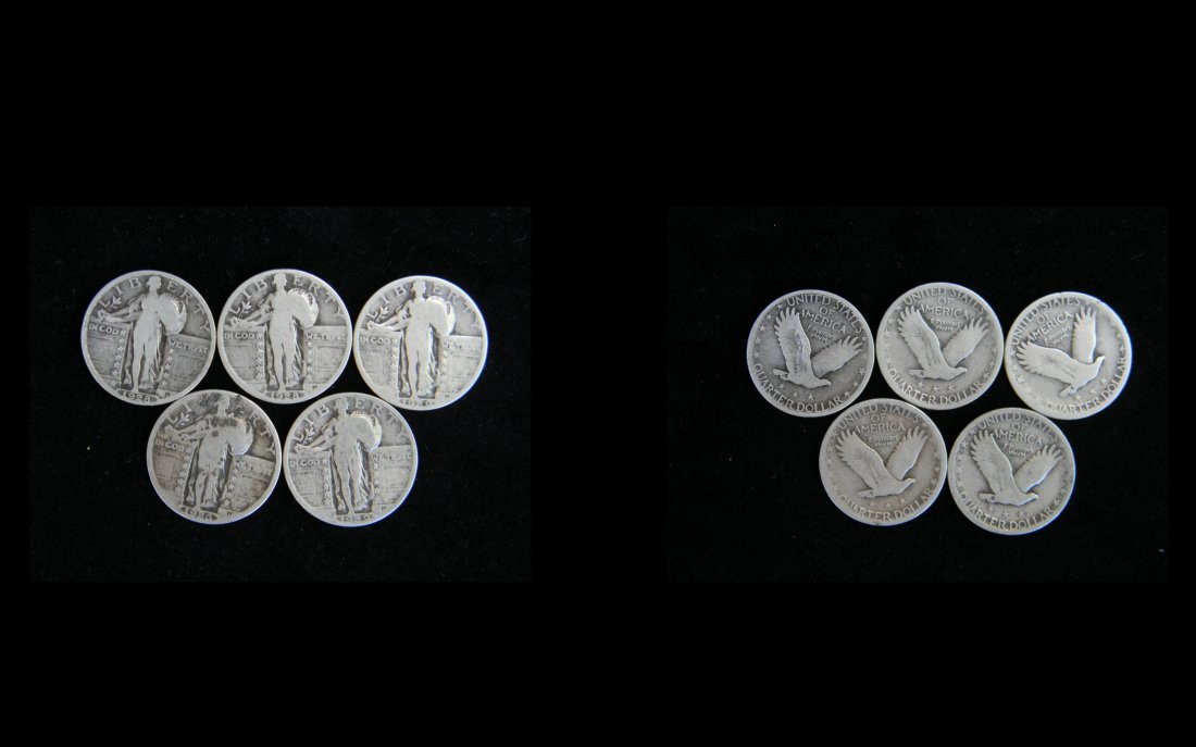 Group Lot of 5 1920's Standing Liberty Quarters