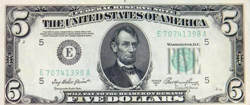 1950 A FRN $5 Crisp UNC. E5