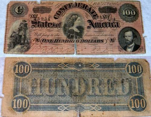 Civil War 1864 Confederate States $100 Bill