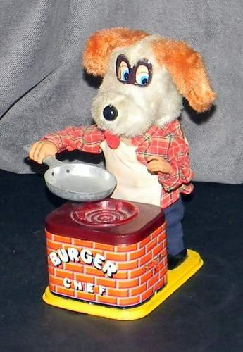 Vintage 1950's Yonezawa Burger Chef Dog Battery-Op Toy