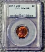 1909 S VDB Wheat Cent, PCGS MS65RB