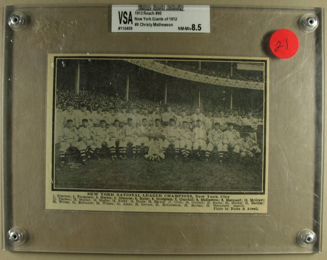 New York Giants of 1912 VSA NM-MH+8.5 Christy Mathewson