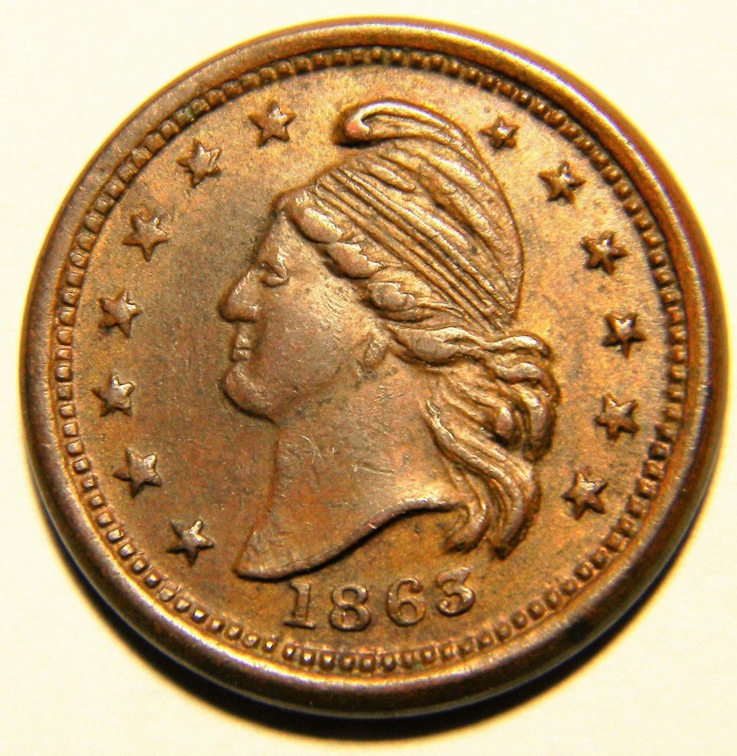 1863 Civil War Token, Reverse Peace Forever, About