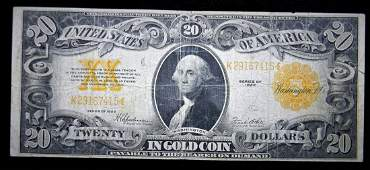 1922 $20 GOLD Certificate, Very Fine Condition