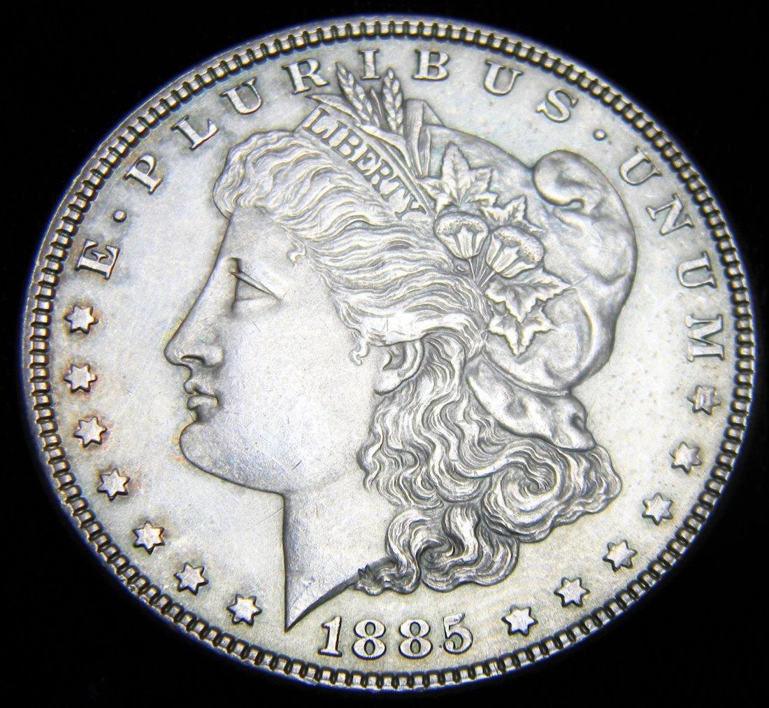 1885 Morgan Silver Dollar, UNC Details, Obverse and