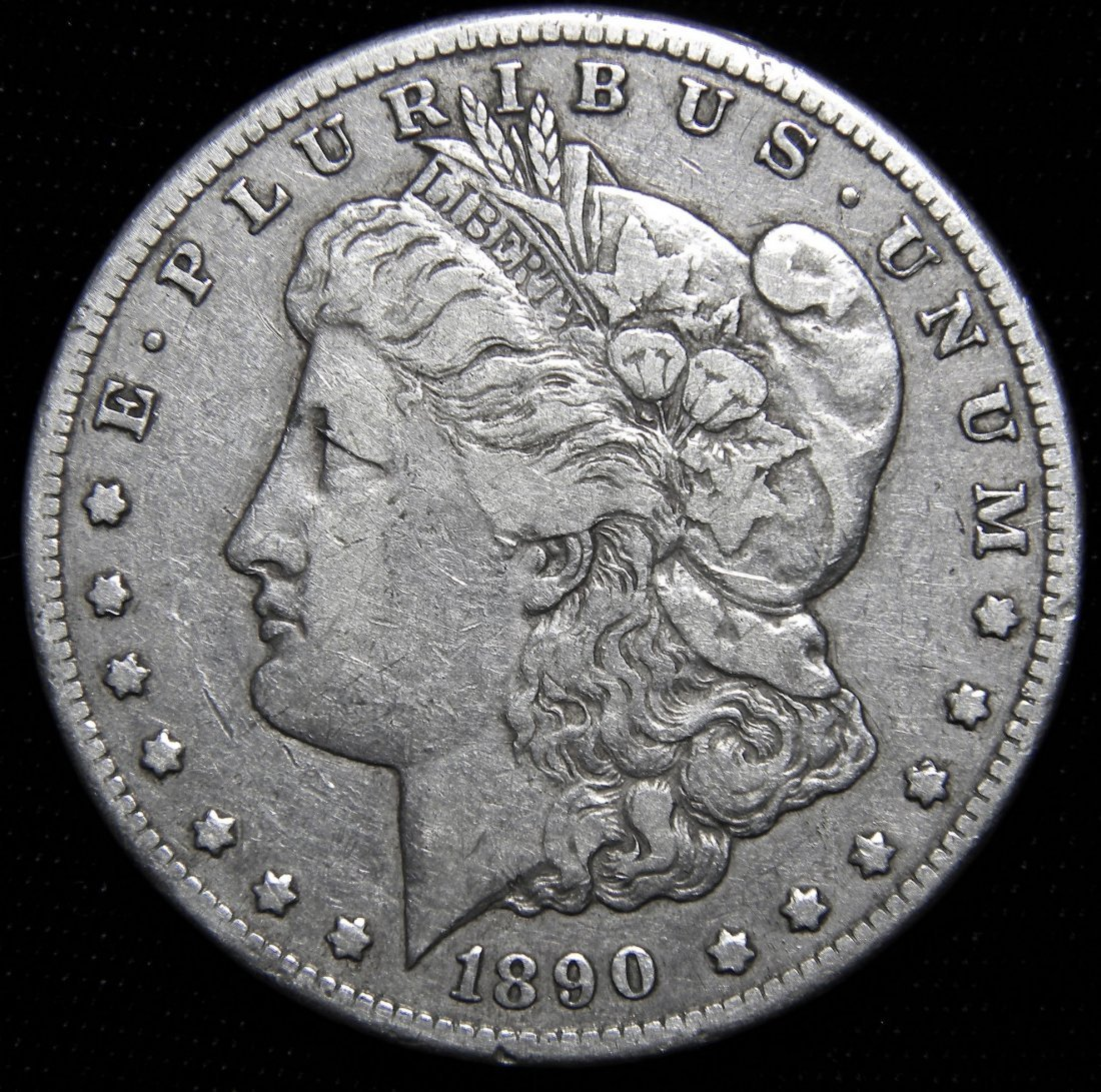 1890-CC Morgan Silver Dollar, Very Fine Details
