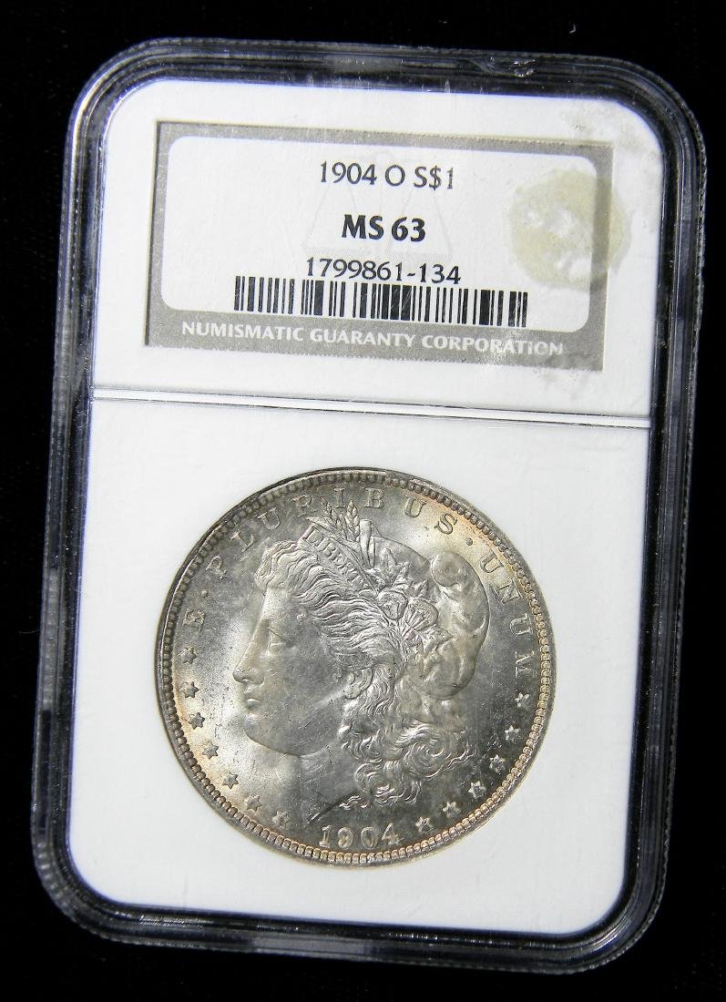 1904-O Morgan Silver Dollar, NGC MS63 Graded