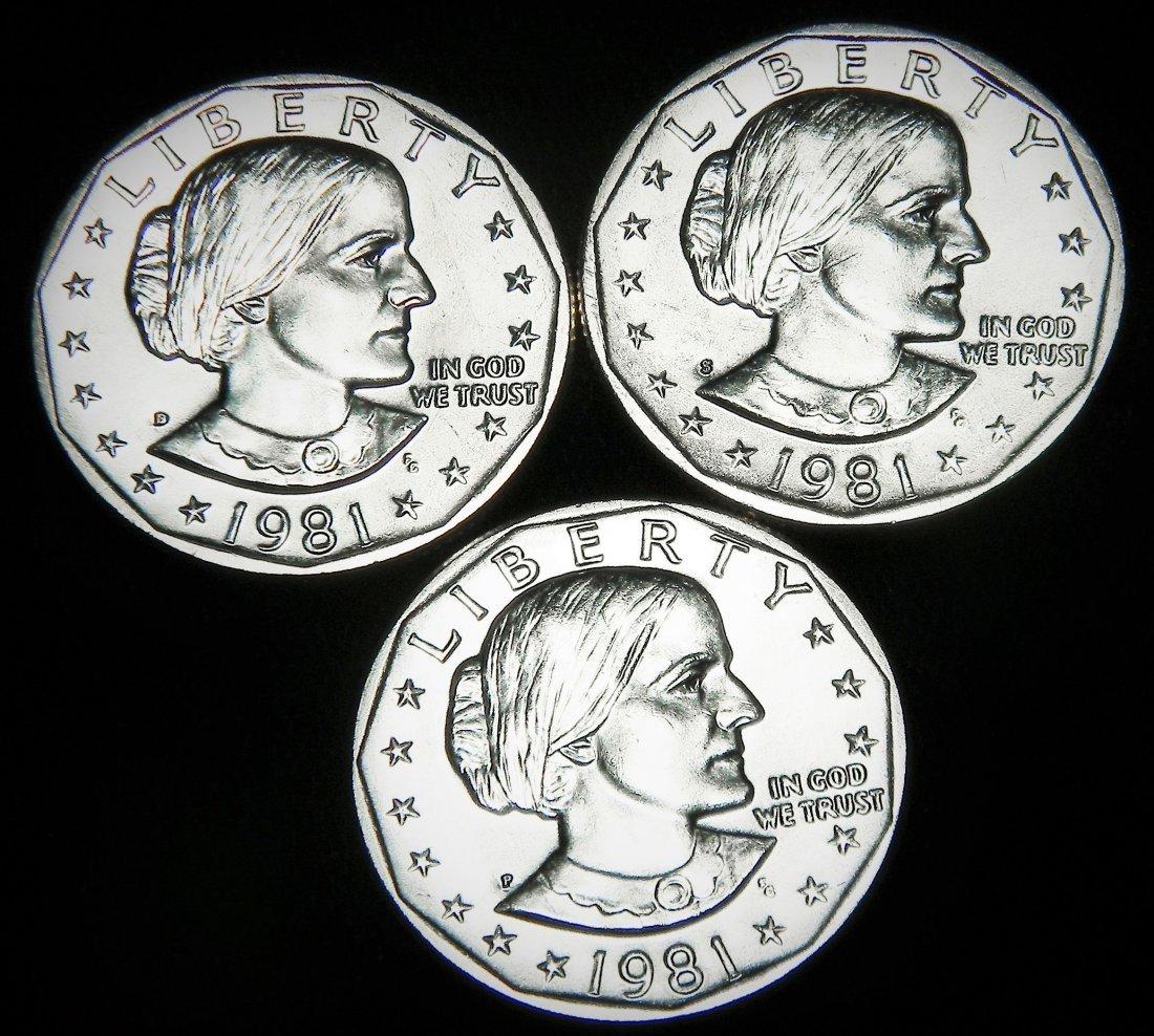 (3) UNC Susan B Anthony Dollars, 1981-P, 1981-D &