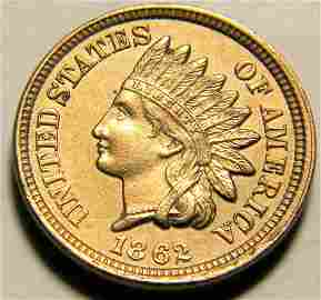 1862 Indian Head Cent, Extremely Fine Details