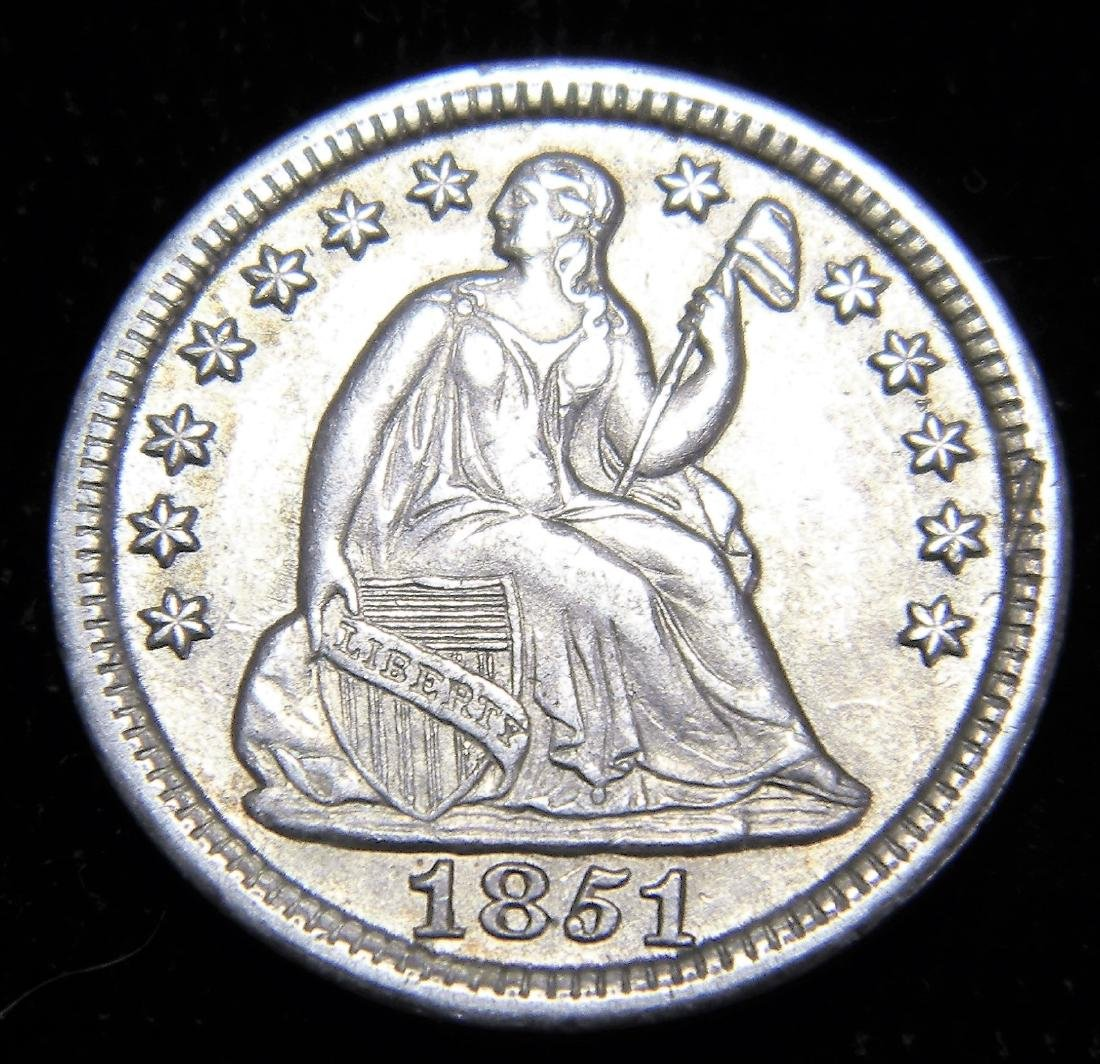 1851 Seated Liberty Half Dime, About Uncirculated