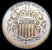 1875 Shield Nickel, Brilliant Uncirculated Details,