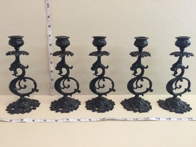Griffin Cast Iron Candle Sticks Lot 5