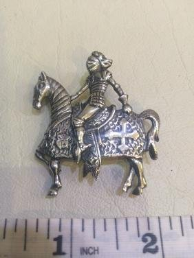 VTG STERLING SILVER KNIGHT IN ARMOR VIKING BROOCH PIN