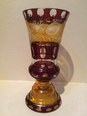 CZECH BOHEMIAN RED RUBY GLASS CRYSTAL VASE