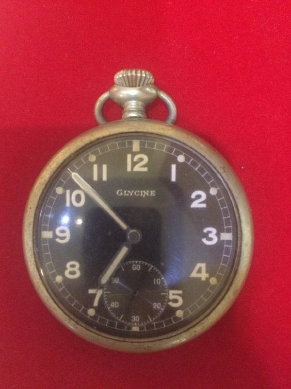 Vtg War Glycine Pocket Watch (not working)