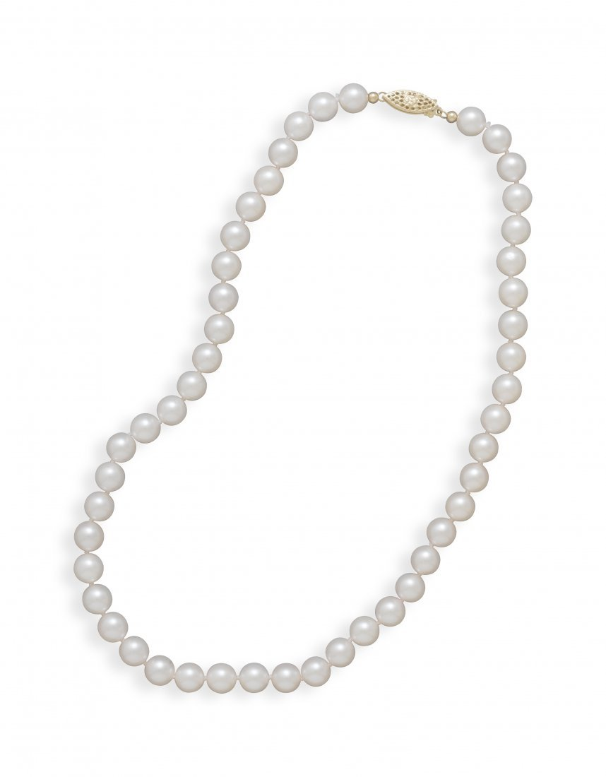 """18"""" 7.5-8mm Grade A Cultured Akoya Pearl Necklace"""