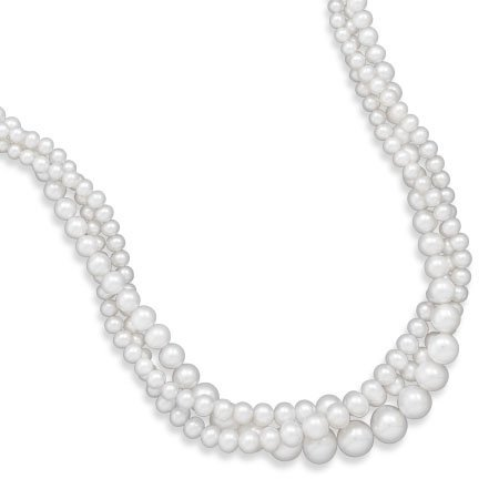 """17"""" Triple Strand Graduated Freshwater Pearl Necklace"""