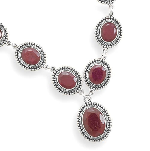 """17"""" Oxidized Faceted Rough-Cut Ruby Necklace"""