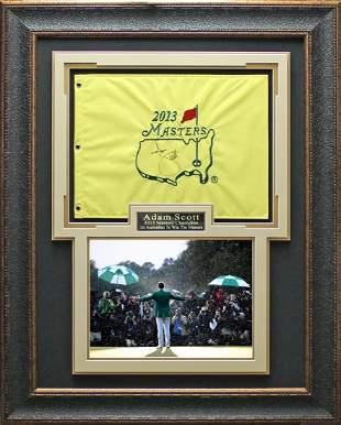 Adam Scott Signed 2013 Masters Flag Framed Display