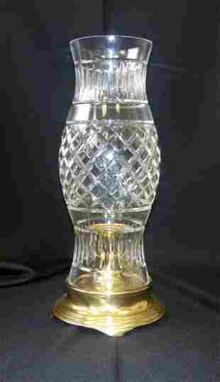 Traditional Crystal and Brass Hurricane Lamp
