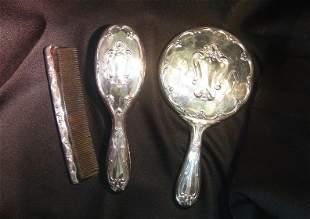 Three Piece Vintage Silver Plate Vanity Set